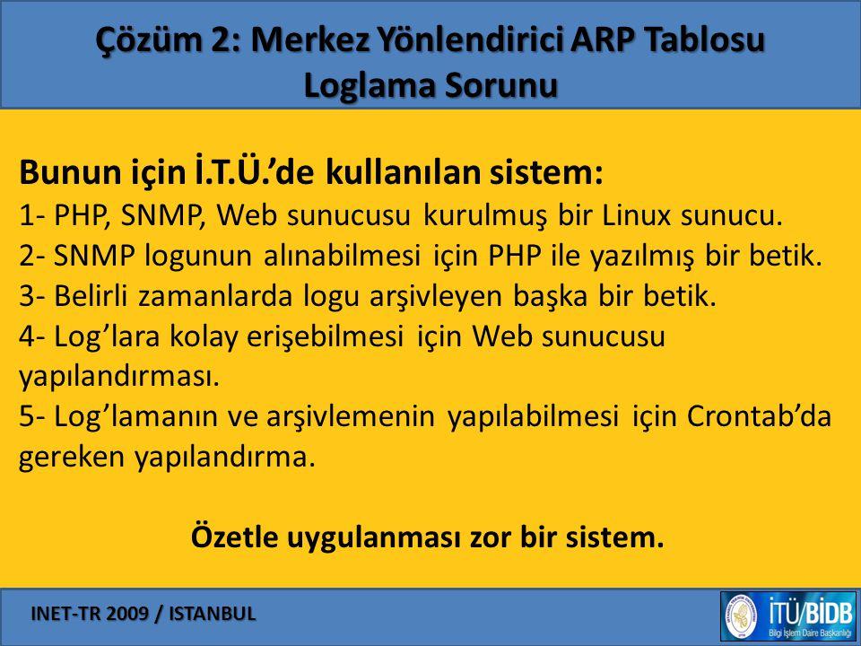 INET-TR 2009 / ISTANBUL Çözüm 2: Merkez Yönlendirici ARP Tablosu Loglama Sorunu Bunun için İ.T.Ü.'de kullanılan sistem: 1- PHP, SNMP, Web sunucusu kur