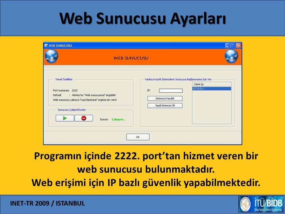 INET-TR 2009 / ISTANBUL Web Sunucusu Ayarları Programın içinde 2222. port'tan hizmet veren bir web sunucusu bulunmaktadır. Web erişimi için IP bazlı g