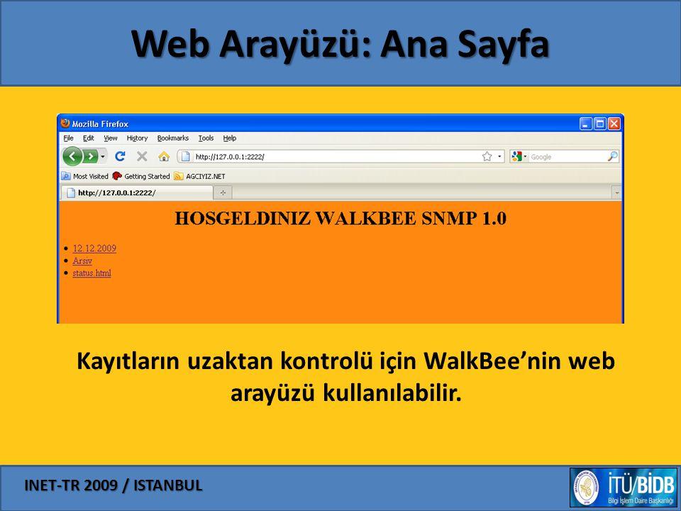 INET-TR 2009 / ISTANBUL Web Arayüzü: Ana Sayfa Kayıtların uzaktan kontrolü için WalkBee'nin web arayüzü kullanılabilir.