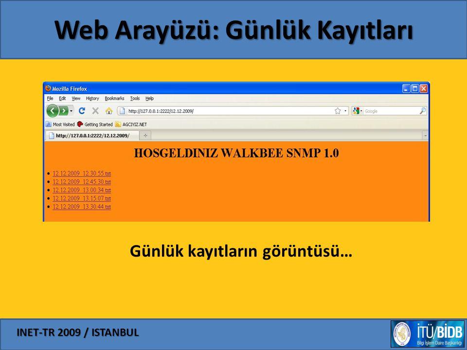 INET-TR 2009 / ISTANBUL Web Arayüzü: Günlük Kayıtları Günlük kayıtların görüntüsü…
