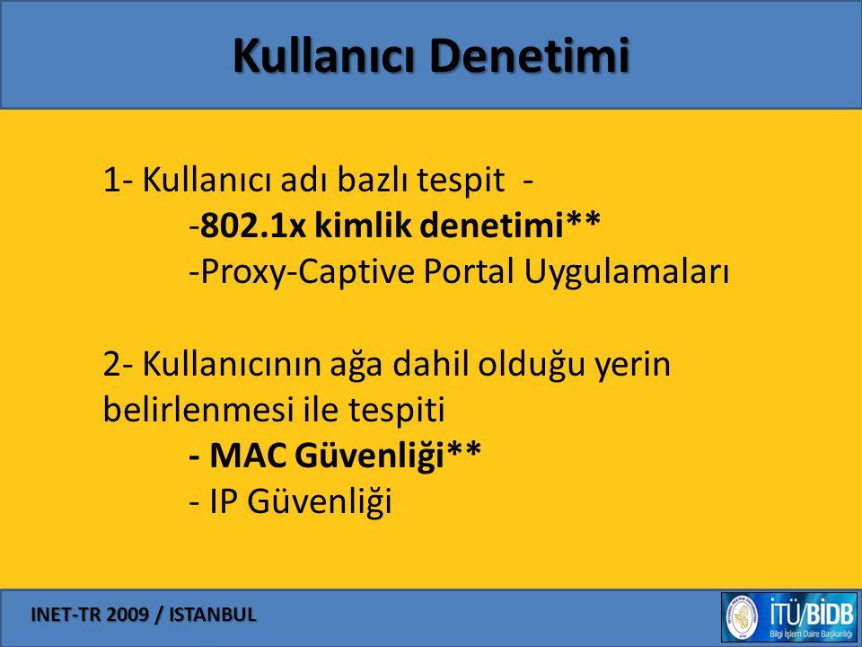 INET-TR 2009 / ISTANBUL Kullanıcı Denetimi 1- Kullanıcı adı bazlı tespit - -802.1x kimlik denetimi** -Proxy-Captive Portal Uygulamaları 2- Kullanıcını