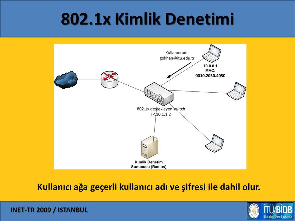 INET-TR 2009 / ISTANBUL 802.1x Kimlik Denetimi Sorunu Free Radius Logu: Fri Jan 9 00:27:17 2009 Packet-Type = Access-Request User-Name = gokhan@itu.edu.tr Framed-MTU = 1400 Called-Station-Id = 001f.2232.0050 Calling-Station-Id = 0010.2030.4050 Service-Type = Login-User Message-Authenticator = 0xc18b0072d5e598015fbf9b8563db1ed9 EAP-Message = 0x0201001d01616e6f6e796d6f757340756c616b62696d2e676f762e7472 NAS-Port-Type = Wireless-802.11 NAS-Port = 2237 NAS-IP-Address = 10.1.1.2 <- SADECE SWITCH'IN IP ADRESİ NAS-Identifier = BOCEK Fri Jan 9 00:27:17 2009 Packet-Type = Access-Accept Reply-Message = Hello, %u
