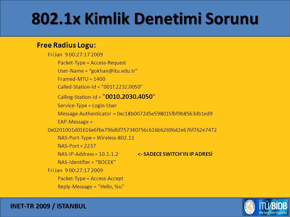 "INET-TR 2009 / ISTANBUL 802.1x Kimlik Denetimi Sorunu Free Radius Logu: Fri Jan 9 00:27:17 2009 Packet-Type = Access-Request User-Name = ""gokhan@itu.e"