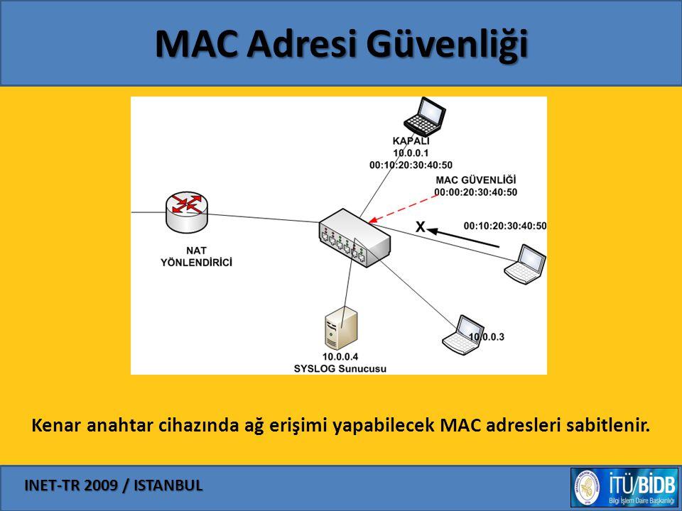 INET-TR 2009 / ISTANBUL MAC Adresi Güvenliği Kenar anahtar cihazında ağ erişimi yapabilecek MAC adresleri sabitlenir.