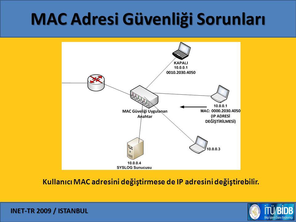INET-TR 2009 / ISTANBUL MAC Adresi Güvenliği Sorunları Kullanıcı MAC adresini değiştirmese de IP adresini değiştirebilir.