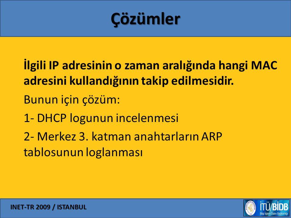 INET-TR 2009 / ISTANBUL Çözümler İlgili IP adresinin o zaman aralığında hangi MAC adresini kullandığının takip edilmesidir. Bunun için çözüm: 1- DHCP