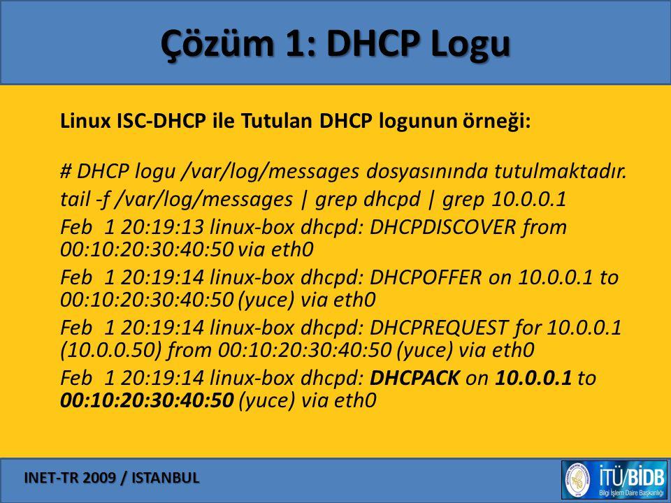 INET-TR 2009 / ISTANBUL Çözüm 1: DHCP Logu Linux ISC-DHCP ile Tutulan DHCP logunun örneği: # DHCP logu /var/log/messages dosyasınında tutulmaktadır. t