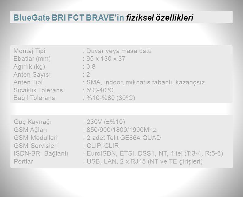 BlueGate BRI FCT BRAVE'in fiziksel özellikleri Montaj Tipi: Duvar veya masa üstü Ebatlar (mm): 95 x 130 x 37 Ağırlık (kg): 0,8 Anten Sayısı: 2 Anten Tipi: SMA, indoor, mıknatıs tabanlı, kazançsız Sıcaklık Toleransı: 5ºC-40ºC Bağıl Toleransı: %10-%80 (30ºC) Güç Kaynağı: 230V (±%10) GSM Ağları: 850/900/1800/1900Mhz.