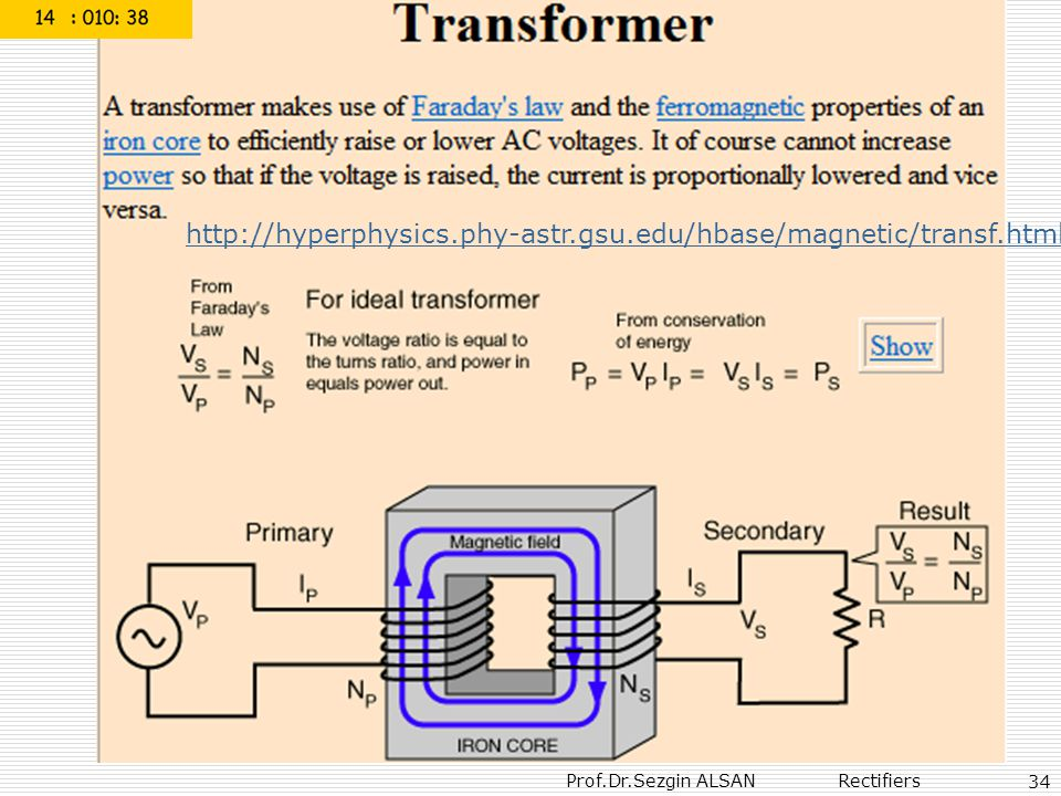 Prof.Dr.Sezgin ALSAN Rectifiers 34 http://hyperphysics.phy-astr.gsu.edu/hbase/magnetic/transf.html