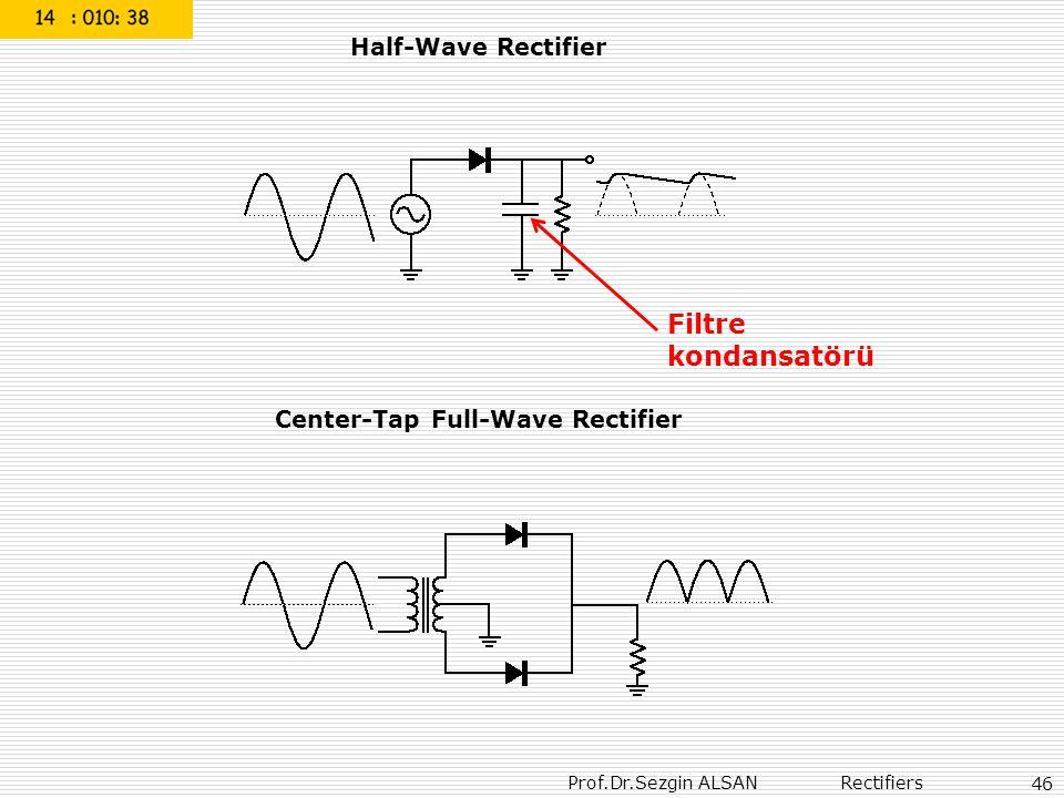 Prof.Dr.Sezgin ALSAN Rectifiers 46 Half-Wave Rectifier Center-Tap Full-Wave Rectifier Filtre kondansatörü