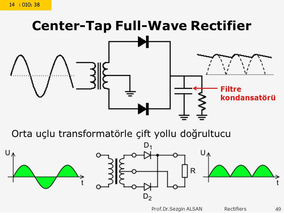 Prof.Dr.Sezgin ALSAN Rectifiers 49 Center-Tap Full-Wave Rectifier Orta uçlu transformatörle çift yollu doğrultucu Filtre kondansatörü