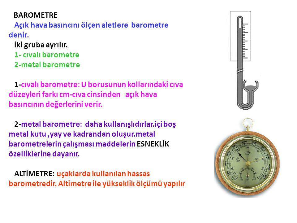 BAROMETRE Açık hava basıncını ölçen aletlere barometre denir. iki gruba ayrılır. 1- cıvalı barometre 2-metal barometre 1-cıvalı barometre: U borusunun