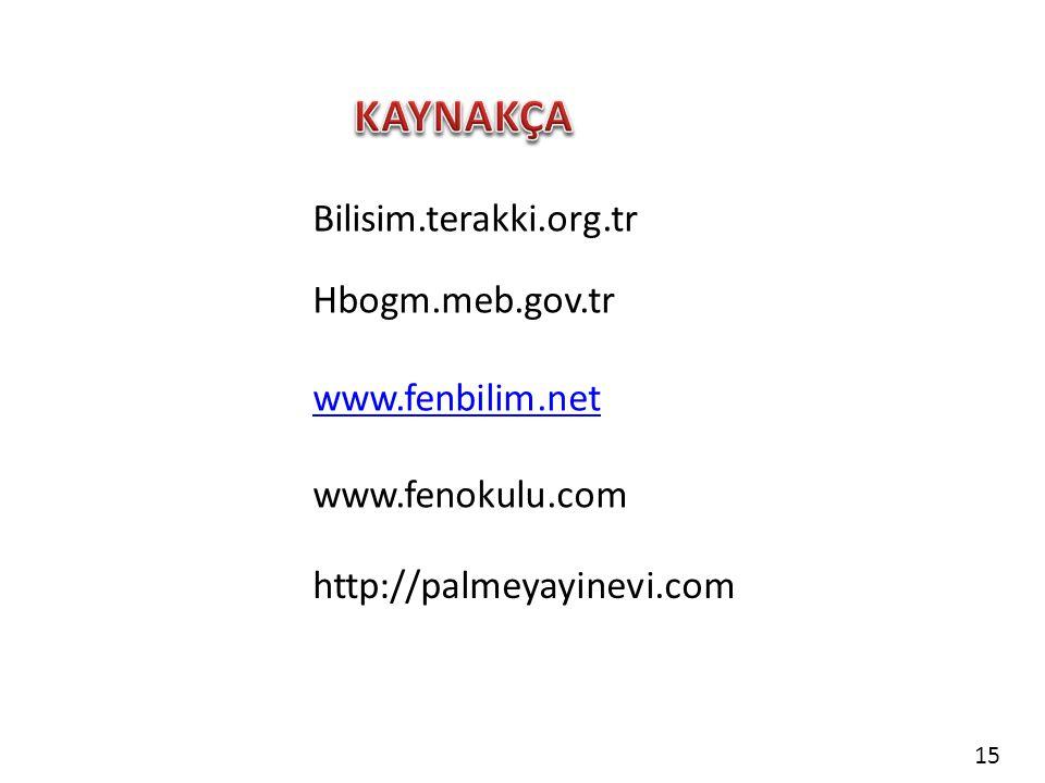 Bilisim.terakki.org.tr Hbogm.meb.gov.tr www.fenbilim.net www.fenokulu.com http://palmeyayinevi.com 15