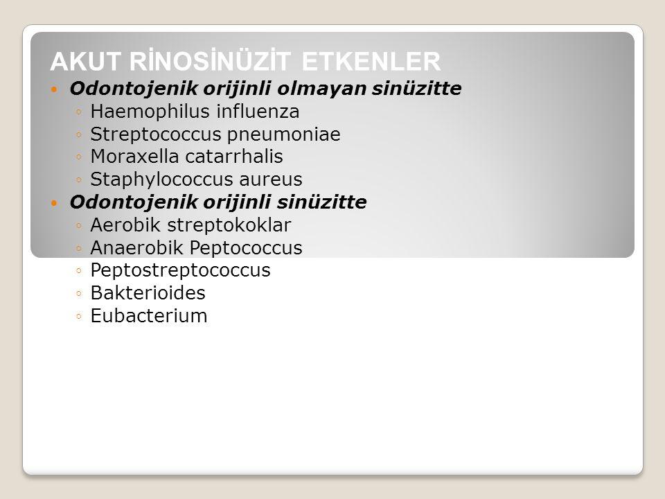 AKUT RİNOSİNÜZİT ETKENLER Odontojenik orijinli olmayan sinüzitte ◦Haemophilus influenza ◦Streptococcus pneumoniae ◦Moraxella catarrhalis ◦Staphylococc