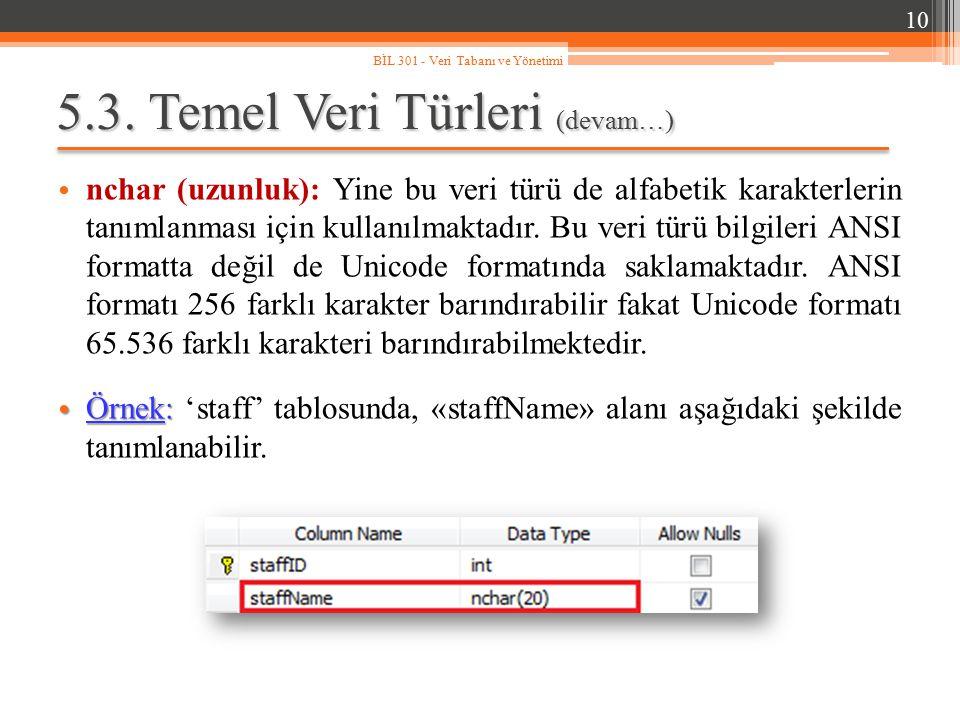 5.3. Temel Veri Türleri (devam…) nchar (uzunluk): Yine bu veri türü de alfabetik karakterlerin tanımlanması için kullanılmaktadır. Bu veri türü bilgil