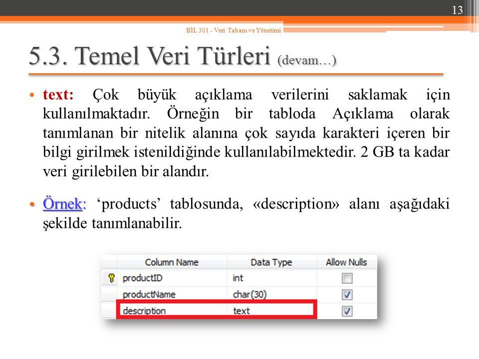 5.3. Temel Veri Türleri (devam…) text: Çok büyük açıklama verilerini saklamak için kullanılmaktadır. Örneğin bir tabloda Açıklama olarak tanımlanan bi
