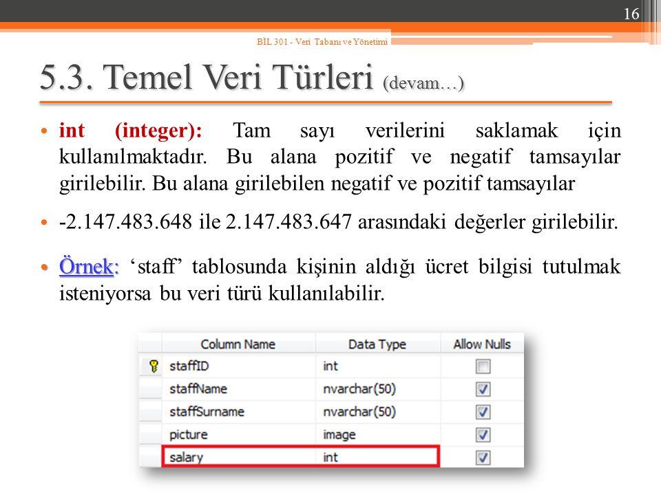5.3. Temel Veri Türleri (devam…) int (integer): Tam sayı verilerini saklamak için kullanılmaktadır. Bu alana pozitif ve negatif tamsayılar girilebilir
