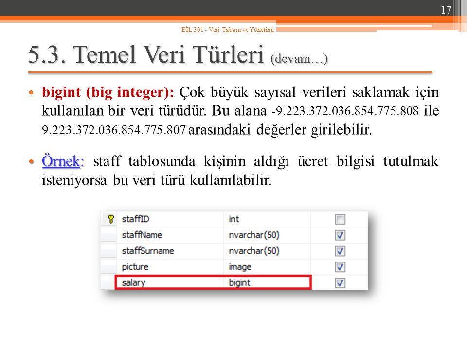 5.3. Temel Veri Türleri (devam…) bigint (big integer): Çok büyük sayısal verileri saklamak için kullanılan bir veri türüdür. Bu alana -9.223.372.036.8