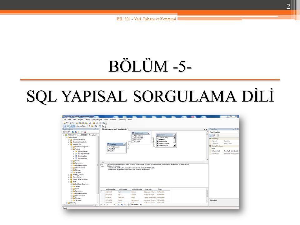 Genel Bakış… SQL yapısal sorgulama diline giriş, Temel veritabanı kavramları, Temel veri türleri, SELECT deyiminin temel yapısı, Aritmetik ifadelerin sorgularda kullanımı, Aynı değere sahip satırların denetlenmesi, Karşılaştırma işleçleri, Mantıksal işleçlerin kullanımı, İşleçlerin işlem sırası, Verinin sıralanması.