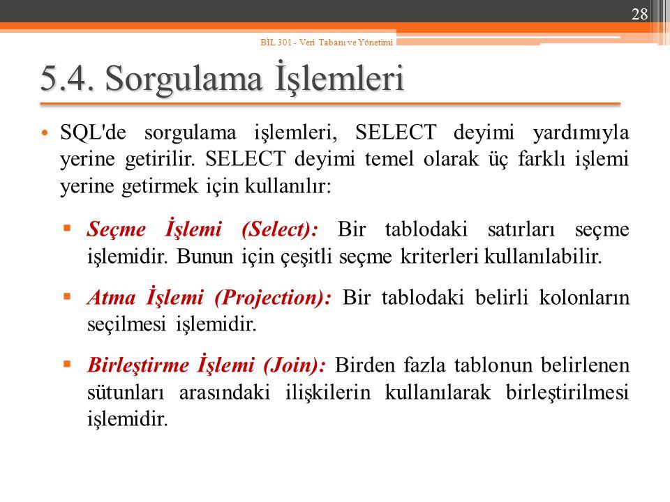 5.4. Sorgulama İşlemleri SQL'de sorgulama işlemleri, SELECT deyimi yardımıyla yerine getirilir. SELECT deyimi temel olarak üç farklı işlemi yerine get