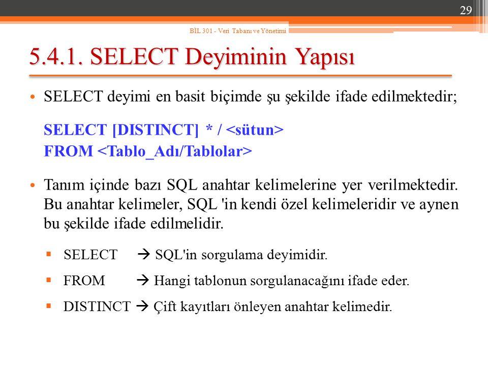 5.4.1. SELECT Deyiminin Yapısı SELECT deyimi en basit biçimde şu şekilde ifade edilmektedir; SELECT [DISTINCT] * / FROM Tanım içinde bazı SQL anahtar