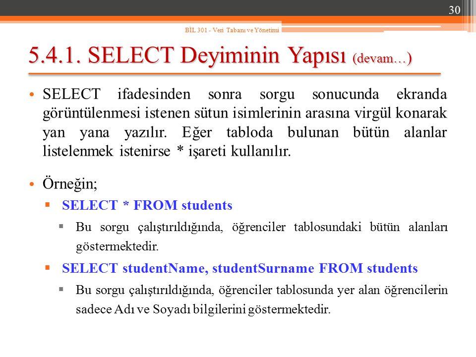 5.4.1. SELECT Deyiminin Yapısı (devam… ) SELECT ifadesinden sonra sorgu sonucunda ekranda görüntülenmesi istenen sütun isimlerinin arasına virgül kona