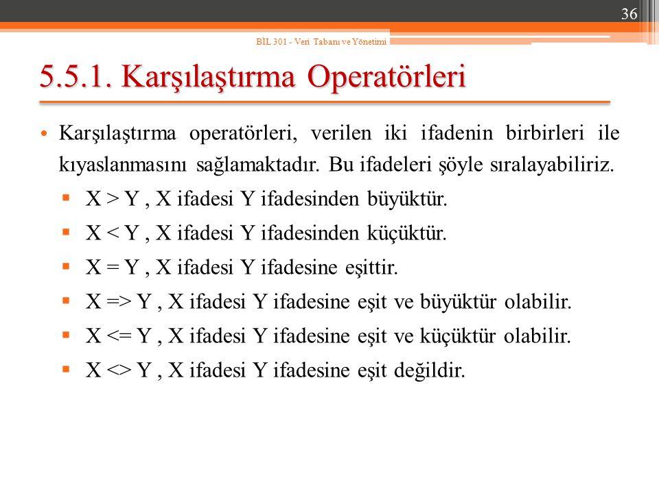 5.5.1. Karşılaştırma Operatörleri Karşılaştırma operatörleri, verilen iki ifadenin birbirleri ile kıyaslanmasını sağlamaktadır. Bu ifadeleri şöyle sır