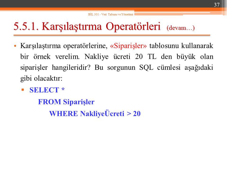 5.5.1. Karşılaştırma Operatörleri (devam…) Karşılaştırma operatörlerine, «Siparişler» tablosunu kullanarak bir örnek verelim. Nakliye ücreti 20 TL den