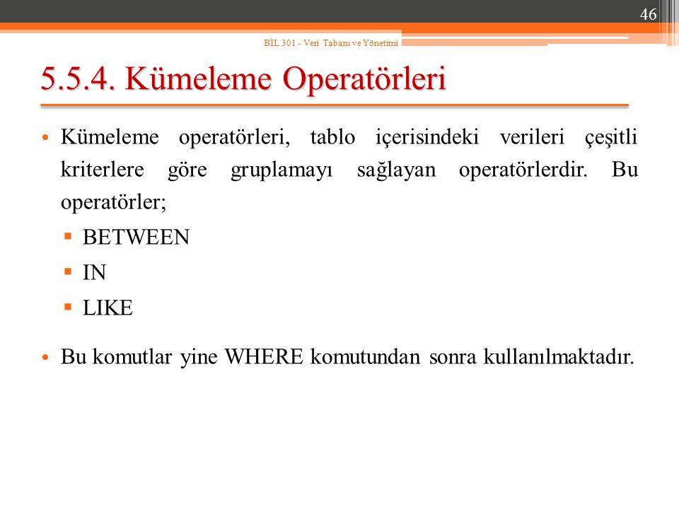 5.5.4. Kümeleme Operatörleri Kümeleme operatörleri, tablo içerisindeki verileri çeşitli kriterlere göre gruplamayı sağlayan operatörlerdir. Bu operatö