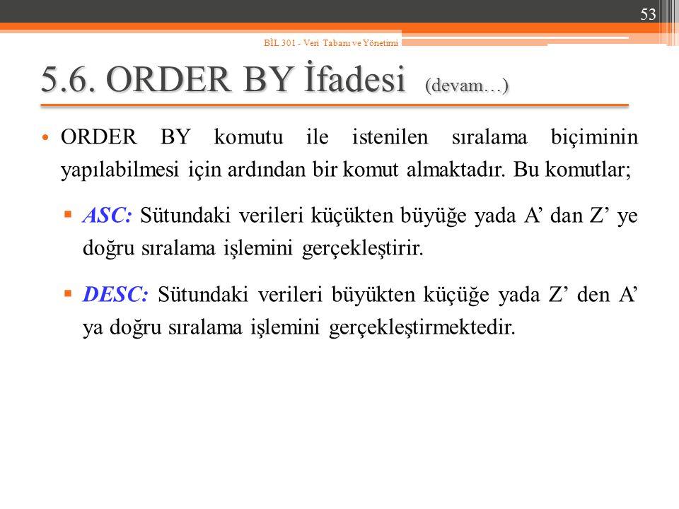 5.6. ORDER BY İfadesi (devam…) ORDER BY komutu ile istenilen sıralama biçiminin yapılabilmesi için ardından bir komut almaktadır. Bu komutlar;  ASC: