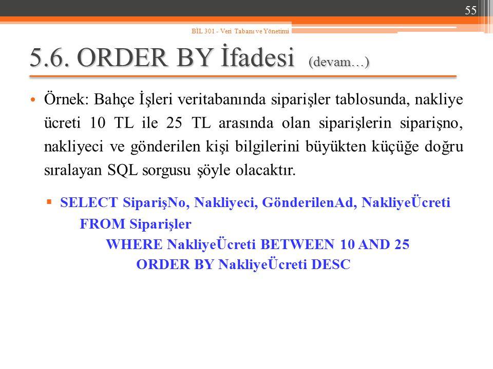 5.6. ORDER BY İfadesi (devam…) Örnek: Bahçe İşleri veritabanında siparişler tablosunda, nakliye ücreti 10 TL ile 25 TL arasında olan siparişlerin sipa