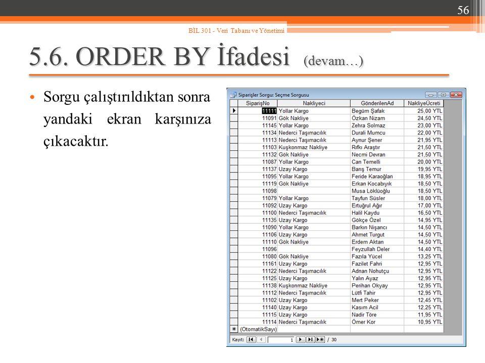 5.6. ORDER BY İfadesi (devam…) Sorgu çalıştırıldıktan sonra yandaki ekran karşınıza çıkacaktır. 56 BİL 301 - Veri Tabanı ve Yönetimi