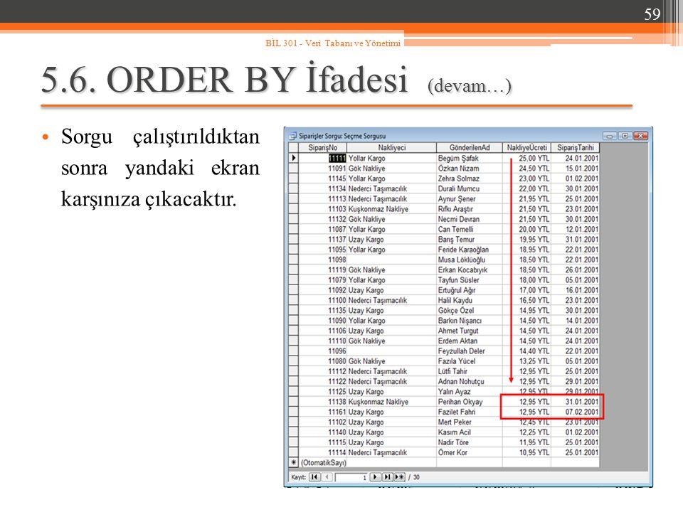 5.6. ORDER BY İfadesi (devam…) Sorgu çalıştırıldıktan sonra yandaki ekran karşınıza çıkacaktır. 59 BİL 301 - Veri Tabanı ve Yönetimi
