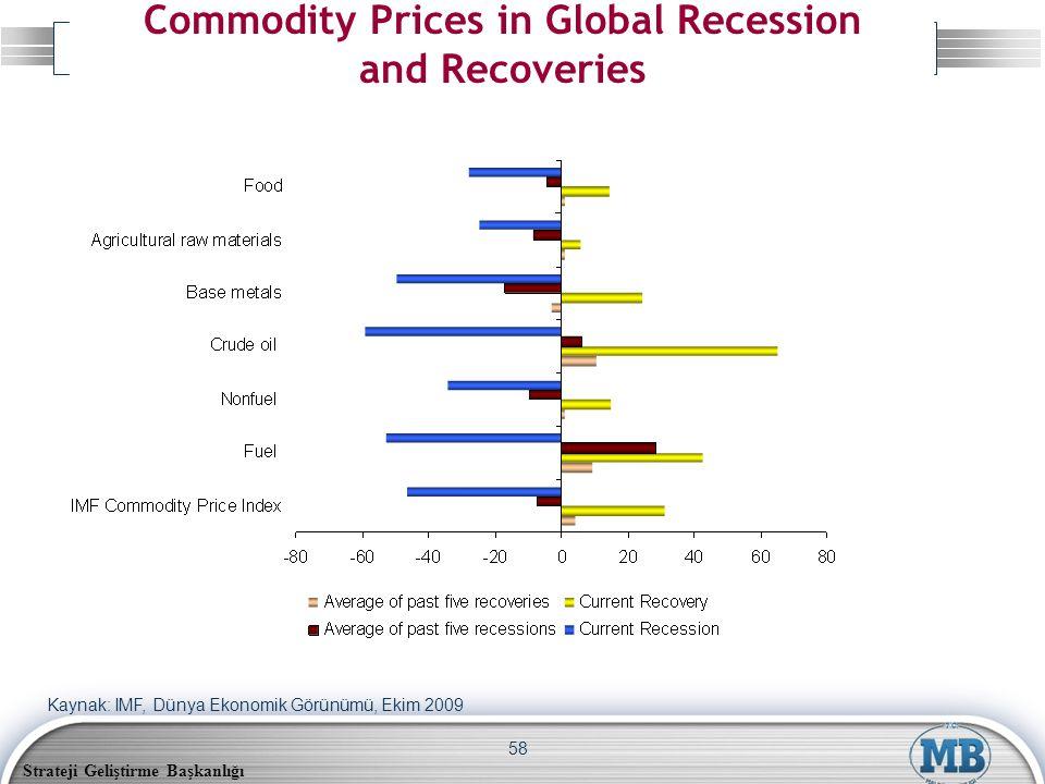 Strateji Geliştirme Başkanlığı 58 Commodity Prices in Global Recession and Recoveries Kaynak: IMF, Dünya Ekonomik Görünümü, Ekim 2009