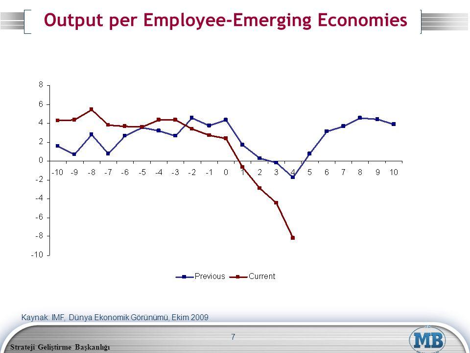 Strateji Geliştirme Başkanlığı 7 Output per Employee-Emerging Economies Kaynak: IMF, Dünya Ekonomik Görünümü, Ekim 2009
