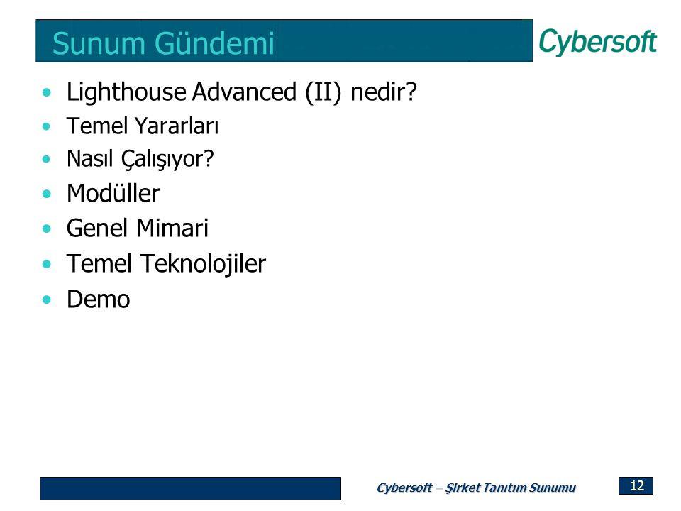 Cybersoft – Şirket Tanıtım Sunumu 12 Sunum Gündemi Lighthouse Advanced (II) nedir? Temel Yararları Nasıl Çalışıyor? Modüller Genel Mimari Temel Teknol