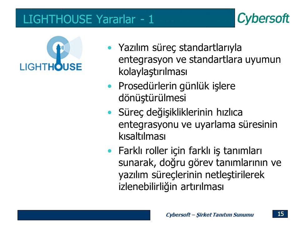 Cybersoft – Şirket Tanıtım Sunumu 15 LIGHTHOUSE Yararlar - 1 Yazılım süreç standartlarıyla entegrasyon ve standartlara uyumun kolaylaştırılması Prosed
