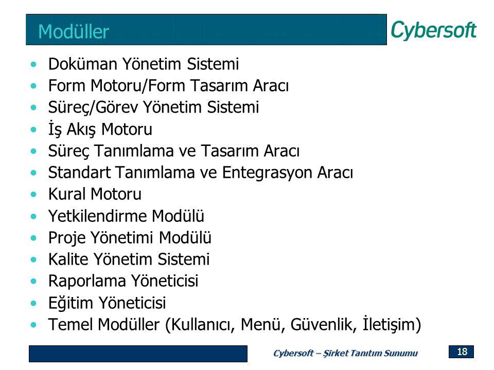 Cybersoft – Şirket Tanıtım Sunumu 18 Modüller Doküman Yönetim Sistemi Form Motoru/Form Tasarım Aracı Süreç/Görev Yönetim Sistemi İş Akış Motoru Süreç