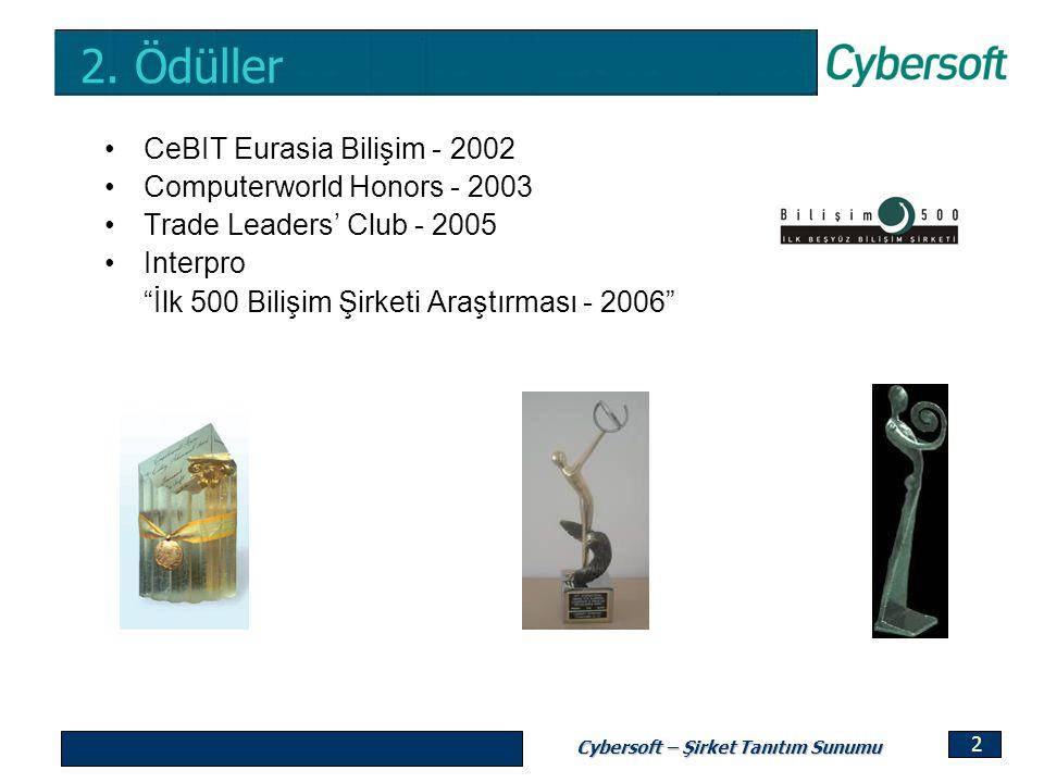 "Cybersoft – Şirket Tanıtım Sunumu 2 2. Ödüller CeBIT Eurasia Bilişim - 2002 Computerworld Honors - 2003 Trade Leaders' Club - 2005 Interpro ""İlk 500 B"