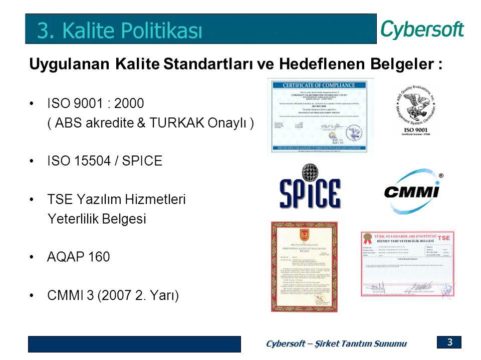 Cybersoft – Şirket Tanıtım Sunumu 3 3. Kalite Politikası Uygulanan Kalite Standartları ve Hedeflenen Belgeler : ISO 9001 : 2000 ( ABS akredite & TURKA