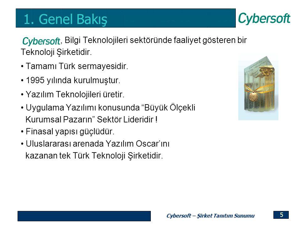 Cybersoft – Şirket Tanıtım Sunumu 5 1. Genel Bakış, Bilgi Teknolojileri sektöründe faaliyet gösteren bir Teknoloji Şirketidir. Tamamı Türk sermayesidi