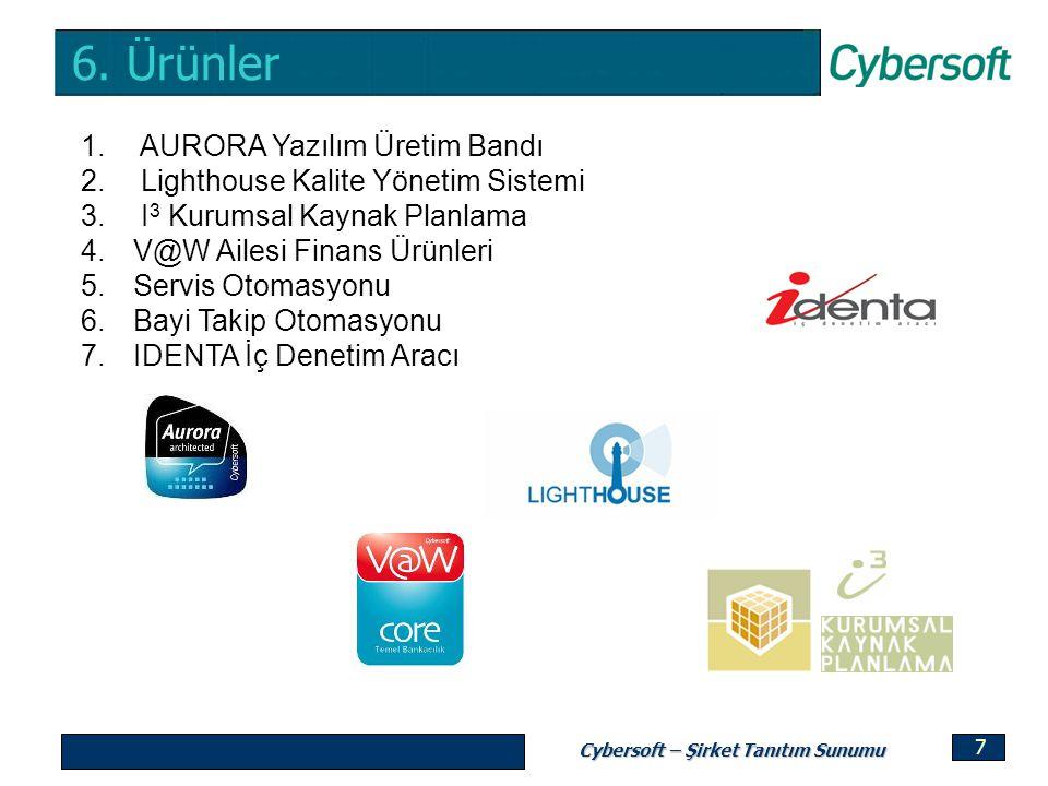 Cybersoft – Şirket Tanıtım Sunumu 7 1. AURORA Yazılım Üretim Bandı 2. Lighthouse Kalite Yönetim Sistemi 3. I 3 Kurumsal Kaynak Planlama 4.V@W Ailesi F