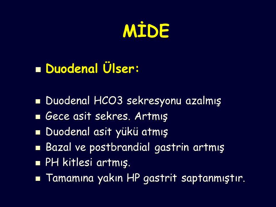 MİDE Duodenal Ülser: Duodenal Ülser: Duodenal HCO3 sekresyonu azalmış Duodenal HCO3 sekresyonu azalmış Gece asit sekres.