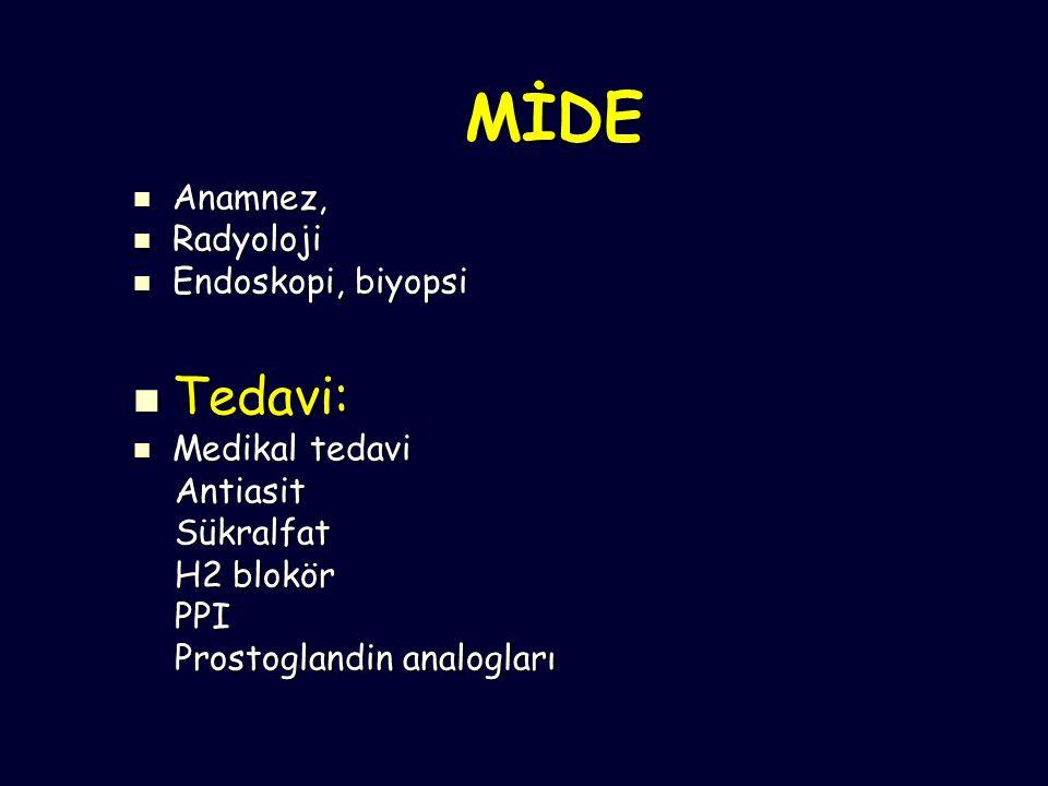 MİDE Anamnez, Anamnez, Radyoloji Radyoloji Endoskopi, biyopsi Endoskopi, biyopsi Tedavi: Tedavi: Medikal tedavi Medikal tedavi Antiasit Antiasit Sükralfat Sükralfat H2 blokör H2 blokör PPI PPI Prostoglandin analogları Prostoglandin analogları