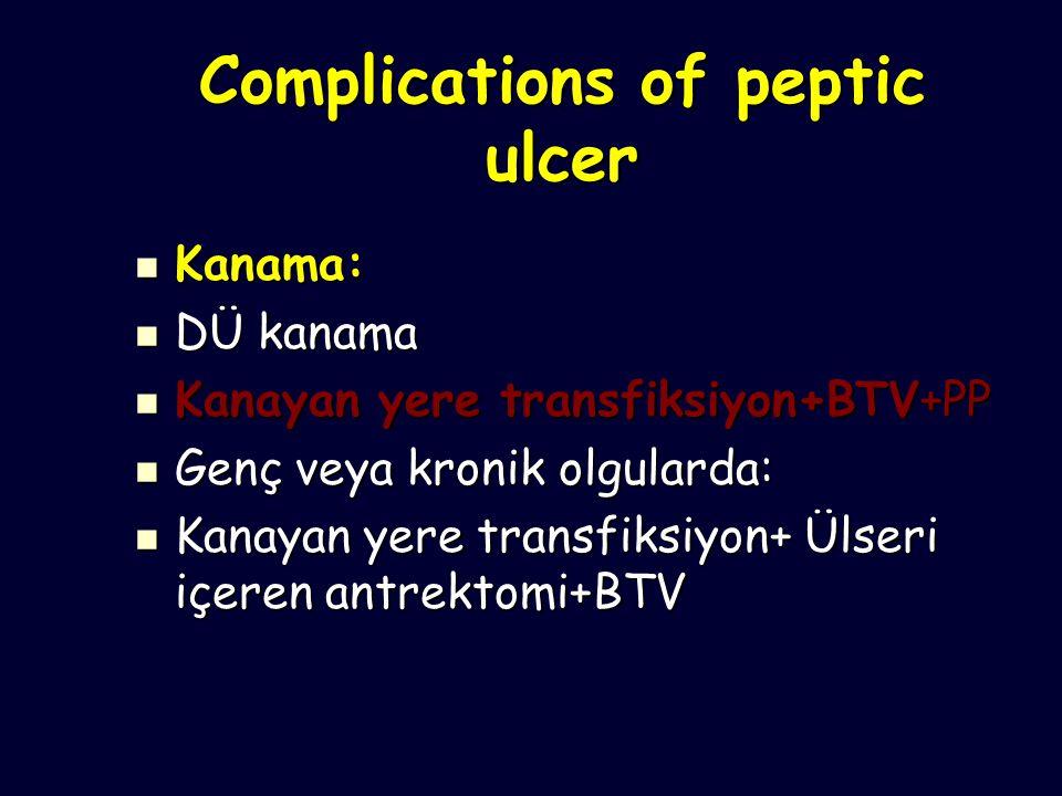 Complications of peptic ulcer Kanama: Kanama: DÜ kanama DÜ kanama Kanayan yere transfiksiyon+BTV+PP Kanayan yere transfiksiyon+BTV+PP Genç veya kronik olgularda: Genç veya kronik olgularda: Kanayan yere transfiksiyon+ Ülseri içeren antrektomi+BTV Kanayan yere transfiksiyon+ Ülseri içeren antrektomi+BTV