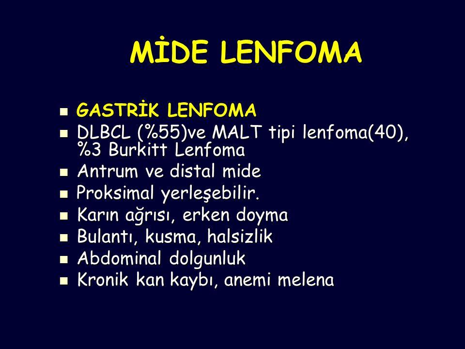 MİDE LENFOMA GASTRİK LENFOMA GASTRİK LENFOMA DLBCL (%55)ve MALT tipi lenfoma(40), %3 Burkitt Lenfoma DLBCL (%55)ve MALT tipi lenfoma(40), %3 Burkitt Lenfoma Antrum ve distal mide Antrum ve distal mide Proksimal yerleşebilir.