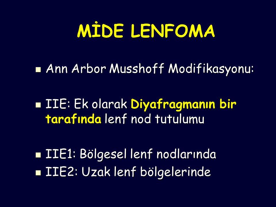 MİDE LENFOMA Ann Arbor Musshoff Modifikasyonu: Ann Arbor Musshoff Modifikasyonu: IIE: Ek olarak Diyafragmanın bir tarafında lenf nod tutulumu IIE: Ek olarak Diyafragmanın bir tarafında lenf nod tutulumu IIE1: Bölgesel lenf nodlarında IIE1: Bölgesel lenf nodlarında IIE2: Uzak lenf bölgelerinde IIE2: Uzak lenf bölgelerinde