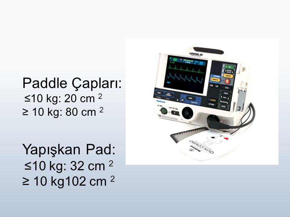Paddle Çapları: ≤10 kg: 20 cm 2 ≥ 10 kg: 80 cm 2 Yapışkan Pad: ≤10 kg: 32 cm 2 ≥ 10 kg102 cm 2