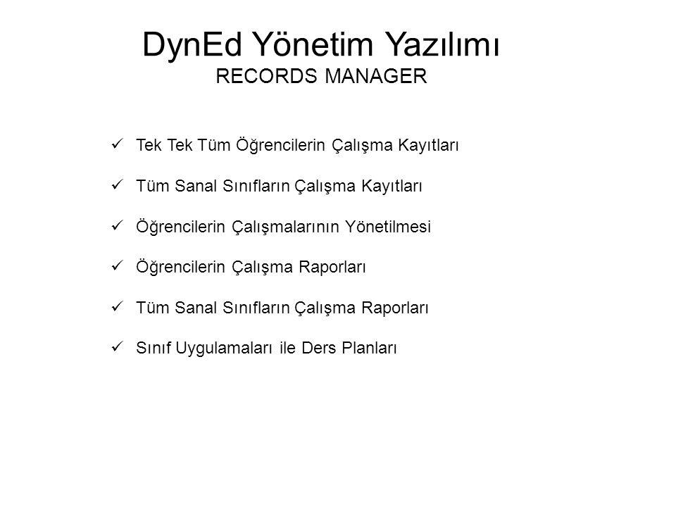DynEd Yönetim Yazılımı RECORDS MANAGER Tek Tek Tüm Öğrencilerin Çalışma Kayıtları Tüm Sanal Sınıfların Çalışma Kayıtları Öğrencilerin Çalışmalarının Y