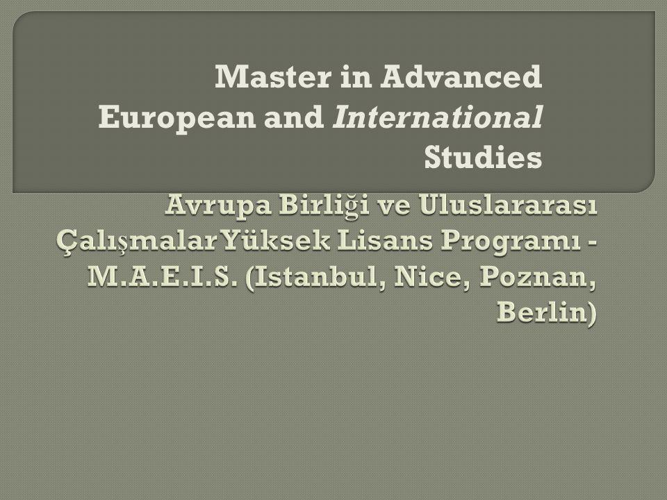 Master in Advanced European and International Studies